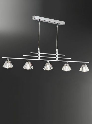 Franklite FL2247/5 Chrome Pendant Light (Class 2 Double Insulated)